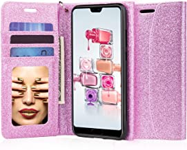 J&D Case Compatible for Huawei P20 Pro Case, [Glittering] [RFID Blocking] [Mirror Function] Shockproof Flip Cover Wallet Case with Card Slots and Makeup Mirror for Huawei P20 Pro Wallet Case - Purple