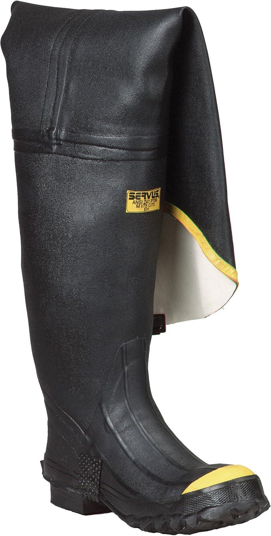 Ranger 36  Heavy-Duty Men's Full Rubber Hip Boots with Steel Toe, Black & Yellow (T112)