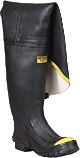 "Ranger 36"" Heavy-Duty Men's Full Rubber Hip Boots with Steel Toe, Black & Yellow (T112)"