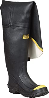 "Ranger 36"" Heavy-Duty Men's Full Rubber Hip Boots with Steel Toe, Black & Yellow (T112)"
