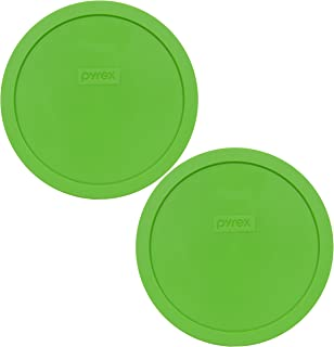 Pyrex 7402-PC Green Round 6/7 Cup Storage Lid for Glass Bowls - 2 Pack