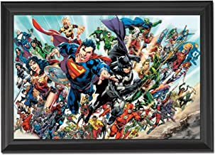 Batman & Superman DC Comics Rebirth Wall Art Decor Framed Print | 24x36 Premium (Canvas/Painting Like) Textured Poster | Wonder Woman, Flash, Justice League, Supergirl | Gifts for Guys & Girls Bedroom