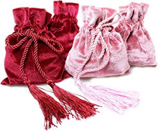 Magic&shell Tarot Rune Bag 4PCS Velvet Jewellery Drawstring Bag Gift Pouches with Tassels for Wedding Party Christmas Pink and Wine