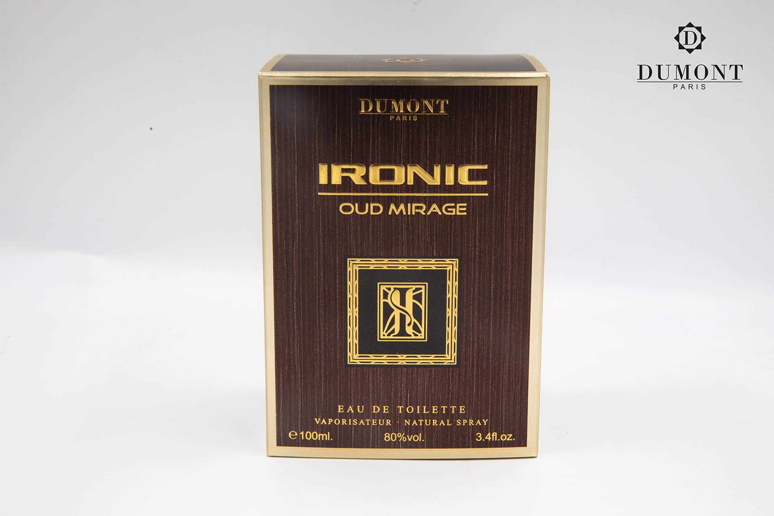 Dumont Ironic Oud Mirage Pour Homme (3.4 Fl. Oz) Eau De Perfum – Perfume Body Spray for Men, Boys, Him - Long Lasting Cologne with Tobacco, Leather, Grapefruit, Woodsy Masculine Scent