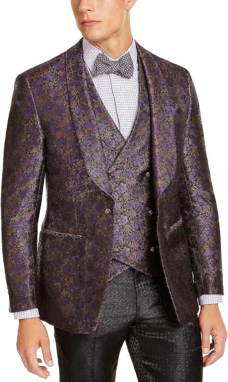 Tallia Men's Purple Floral Dinner Jacket Purple/TAN L
