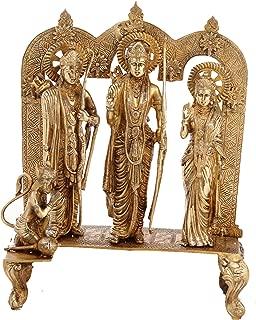 Idol Collections Shri Ram Darbar Golden Finish Brass Statue, Standard,