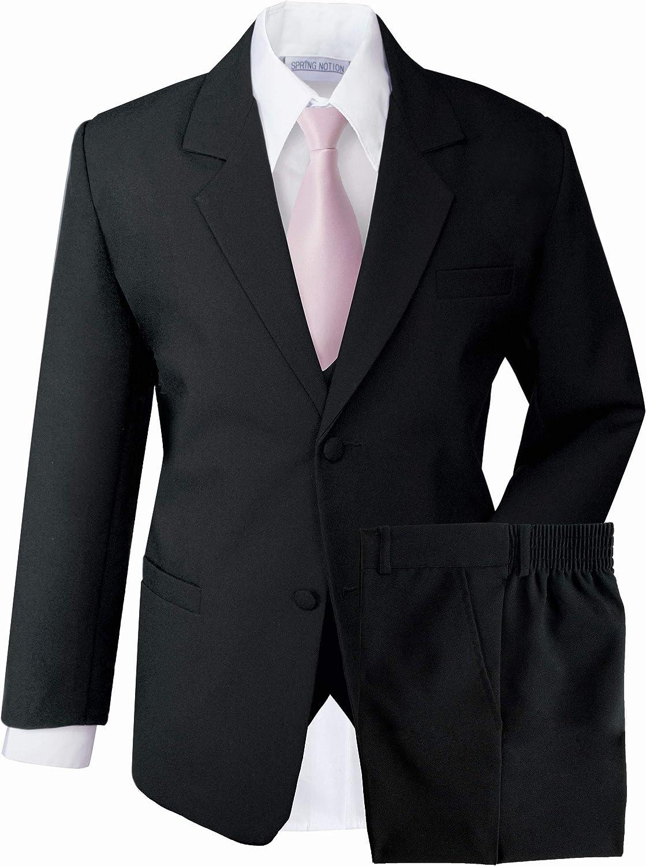 Spring Notion Boys' Formal Dress Suit Set 24M (X-Large) Black Suit Pink Tie