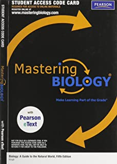 MasteringBiology with Pearson EText Student Access Kit for Biology: A Guide to the Natural World (ME Component)