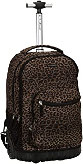 Rockland Single Handle Rolling Backpack, Leopard, 19-Inch