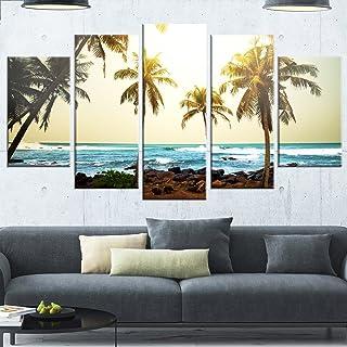 Designart MT12531-373 Rocky Tropical Beach with Palms - Seashore Metal Wall Art,Green/Blue,60x32