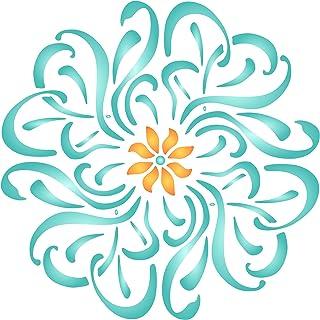 Plantilla de flores Mandala – Plantilla de pared reutilizable floral flores plantas – Uso en proyectos