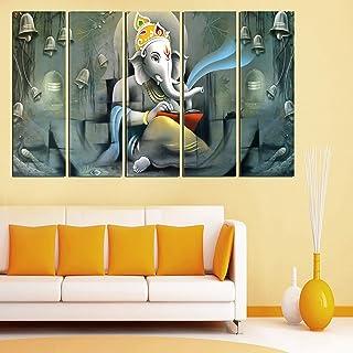 PARI ARTS Multiple Frame,Beautiful Multiple Unique Ganesha Sparkle Print Art Wall Painting for Living Room,Bedroom,Hotels,...
