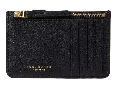 Tory Burch Perry Top Zip Card Case (Black) Handbags