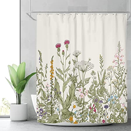 Riyidecor Fabric Green Leaves Shower Curtain for Bathroom Decor 72Wx72H Inch Floral Flower Botanical Decorative Bath Set Plants Herbs Bathroom Accessories Polyester Waterproof 12 Pack Hooks