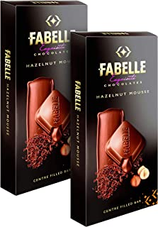 Fabelle Hazelnut Mousse, Pack of 2x128g, Centre-Filled Luxury Chocolate Bar with Hazelnut Cocoa Mousse and Roasted Turkish...