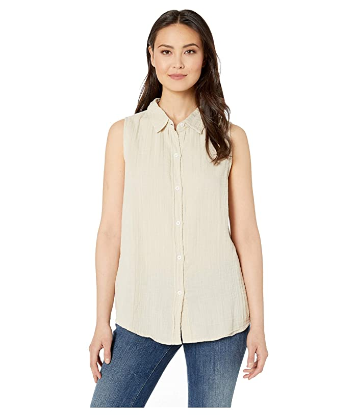 Dylan by True Grit Soft and Light Double Gauze Sleeveless Shirt with Button Back (Sand) Women