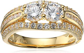 Sterling Silver with Yellow Gold Plating Cubic Zirconia Two-Stone Paralleled Ring, Size 7
