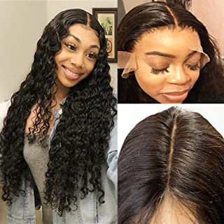 IWISH Deep Wave Frontal Lace Closure Brazilian Hair Free Part 13x6 Ear to Ear Full Lace Frontal Closure Pre plucked with Baby Hair Bleached Knots Natural Hairline (14, 13X6 deep wave)