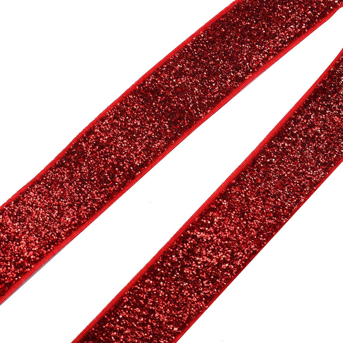 Monrocco 5 Yards Glitter Elastic Ribbon Fold Over Elastic for Craft Hair Tie Headband (Red)