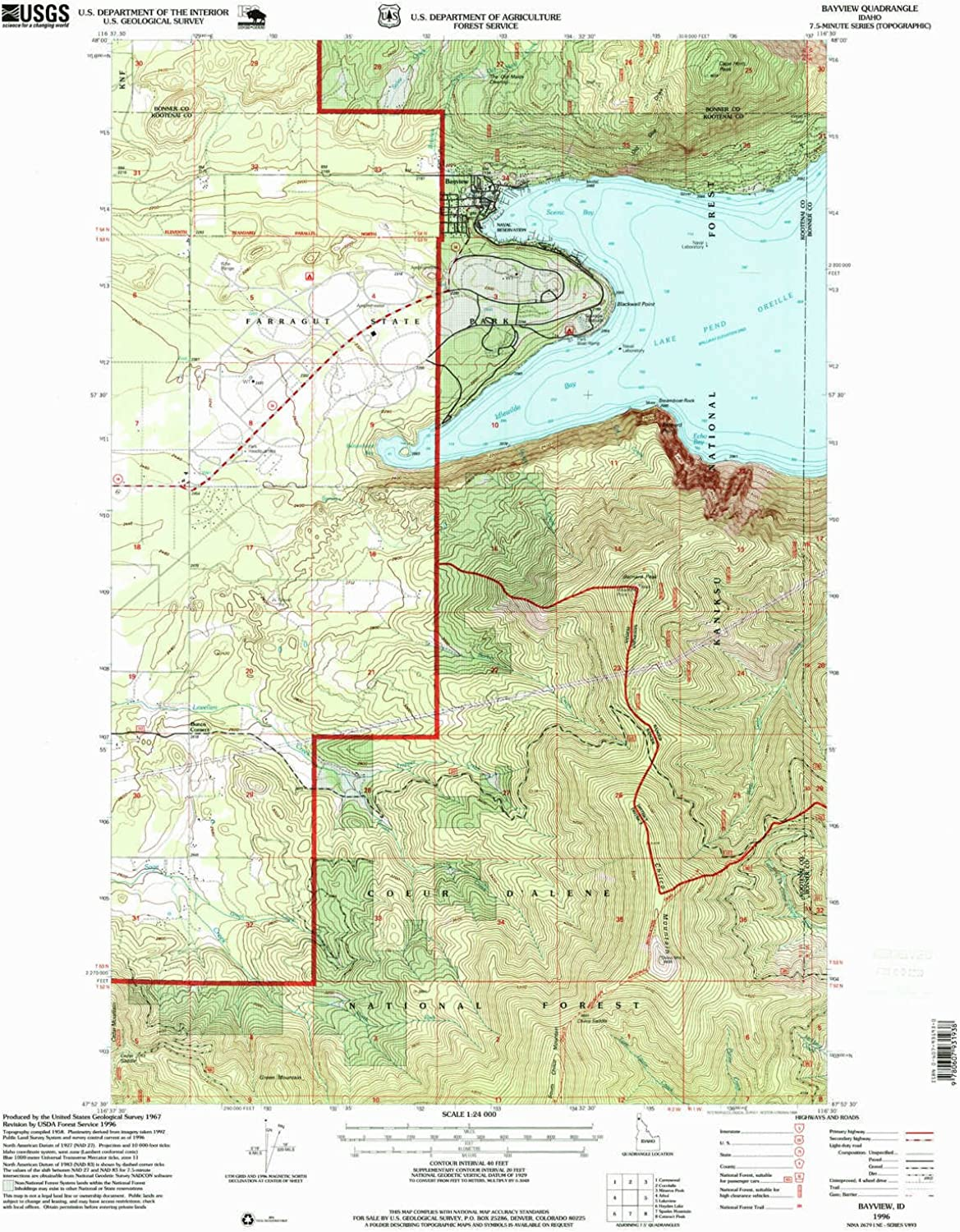 Bayview ID topo map, 1 24000 Scale, 7.5 X 7.5 Minute, Historical, 1996, Updated 1999, 27 x 22.2 in