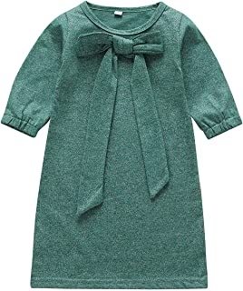 YOUNGER STAR Toddler Girls Autumn Dresses Kids Long Sleeve Cotton Solid Lace-up Bowknot Casual Skirt