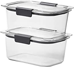 Rubbermaid Brilliance Food Storage Container, Medium Deep, 4.7 Cup, Clear, 2-Pack