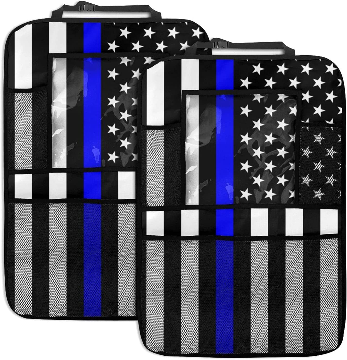 Blue Line Animer and price revision Us Flag 2pc New sales Car Back Backseat Organizer Protector Seat