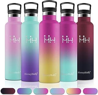 HoneyHolly Botella de Agua Acero Inoxidable sin BPA 750ml, Aislamiento de Vacío de Doble Pared, Botellas Frío/Caliente, Reutilizable para Niños, Colegio, Sport, Gimnasio, Bicicleta
