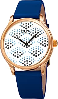 Burgi Swarovski Crystals Women's Watch - Sparkling Dial in a Beautiful Fan Pattern Women's Watch – Bright Colored Leather Strap - BUR238