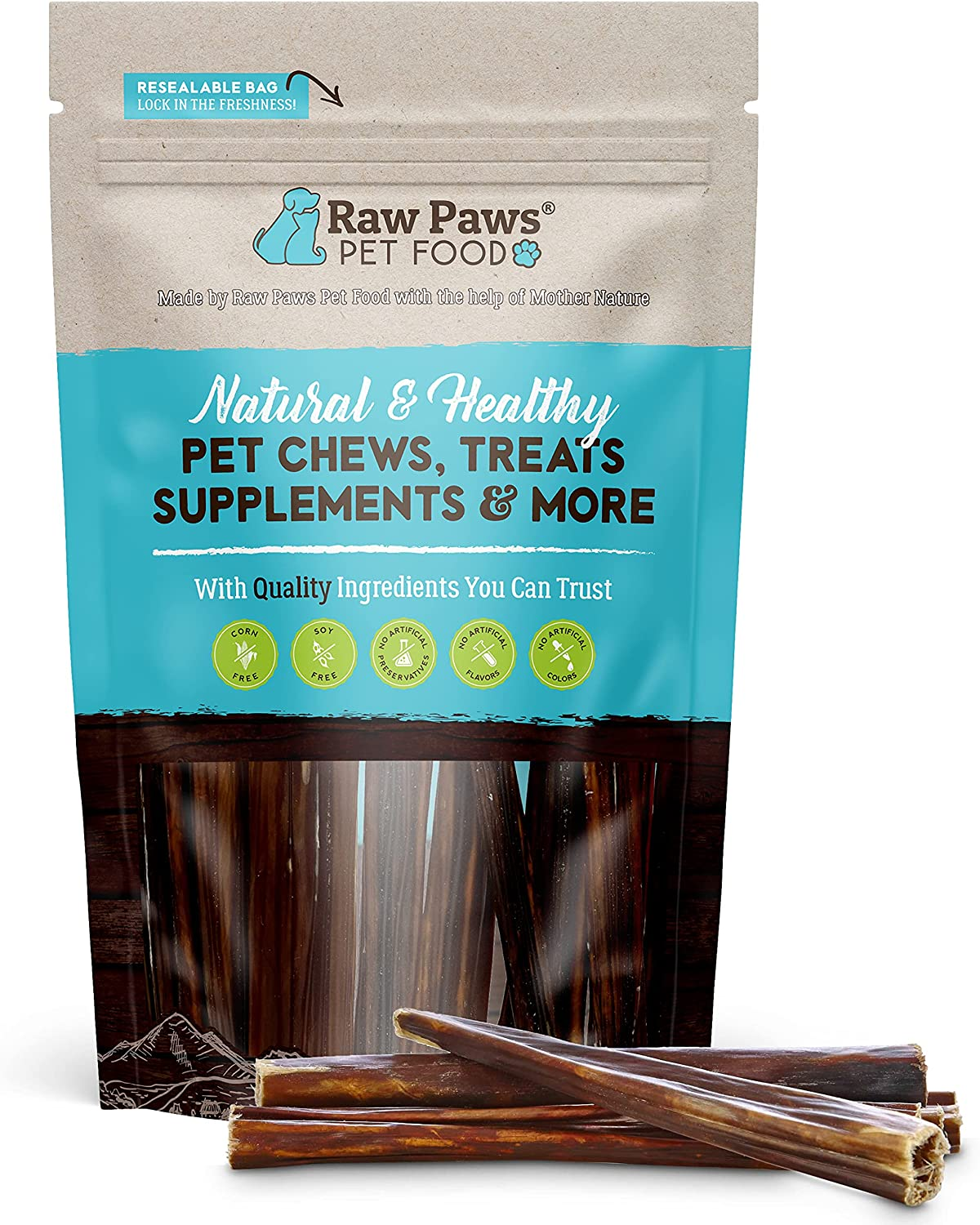 Raw Paws 6-inch Dealing full price reduction Beef Gullet Sticks Dogs All-Natural Be super welcome for - 10-ct