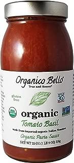 Organico Bello - Organic Gourmet Pasta Sauce - Tomato Basil - 25oz (Pack of 6) - Non GMO, Whole 30 Approved, Gluten Free