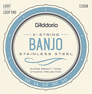 D'Addario EJS60 Stainless Steel 5-String Banjo Strings, Light, 9-20
