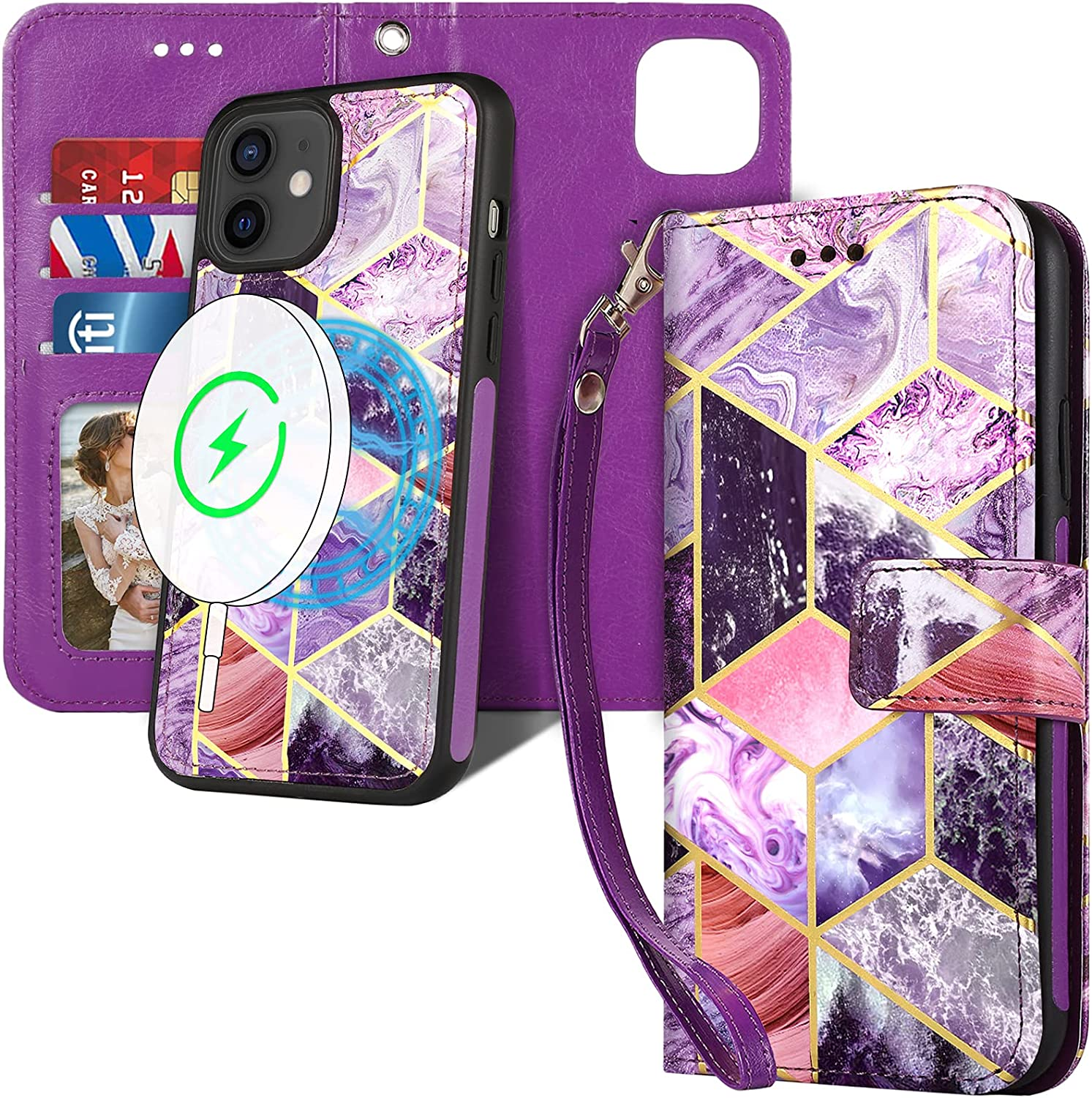 CASEOWL Compatible with iPhone 12/12 Pro Wallet Case, 2-in-1 Magnetic Detachable [Wireless Charging Support] with Card Holder,RFID Blocking,Strap,Leather Wallet Phone Case for 12/12 Pro 6.1