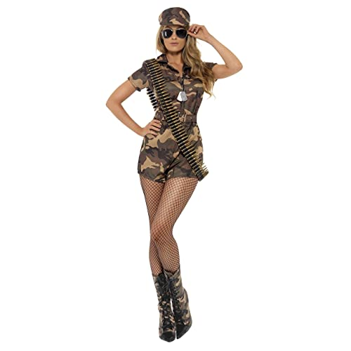 Womens Ladies Camo Army Soldier Girl Camouflage Fancy Dress Costume Outfit