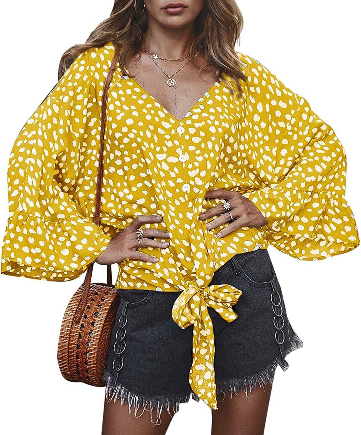 PERSUN Women's Long Sleeve V Neck Button Down Blouses Polka Dot Tie Knot Shirts Tops