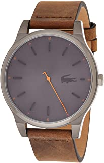 Lacoste Men's Grey Dial Color Leather Strap Watch - 2010968