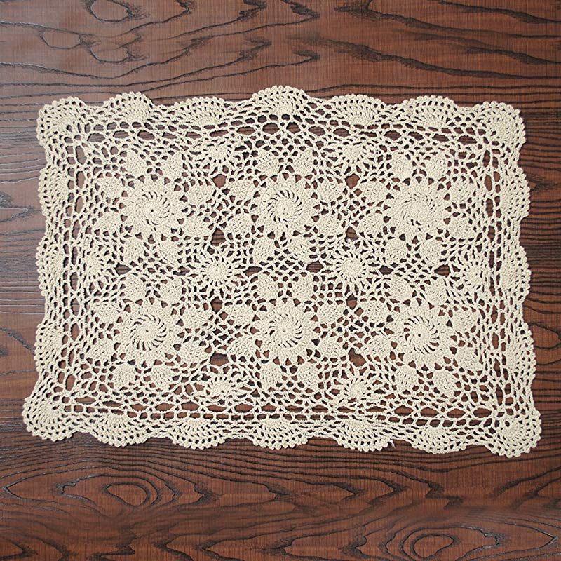 Yazi Rustic Sofa Doilies Crochet Table Mat Cotton Beige Table Doilies Handmade Table Placemat For Dinning Room 16 X 20