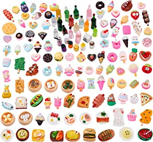 Zhanmai 150 Pieces Miniature Food Drinks Bottle Toys Assorted Pretend Foods Mini Food Dollhouse Accessories Mixed Resin Kitchen Food Toys for Adults Teenagers