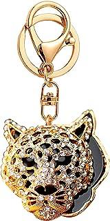 JewelBeauty Fashion Crystal Leopard Jaguar Head Key Ring Purse Bag Keychain Car Bag Pendant Decoration Gift (Gold Jaguar #2)