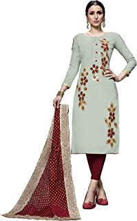 Rajnandini Women's Grey Pure Heavy Jam Cotton Embroidered Unstitched Salwar Suit Material (Free Size)
