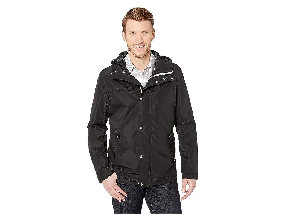 Cole Haan Button Front Tech Rain Jacket (Black) Men