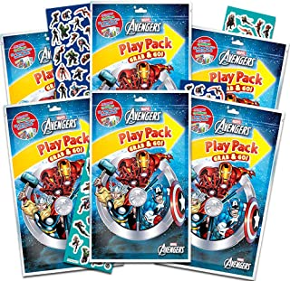 Marvel Avengers Party Favors Pack ~ Bundle of 6 Avengers Play Packs with Stickers, Coloring Books, and Crayons with Bonus Stickers (Avengers Party Supplies)