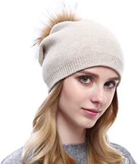 Women Knit Wool Beanie - Winter Solid Cashmere Ski Hats Real Raccoon Fur Pom Pom