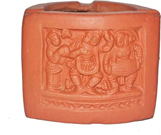 JISNA COLLECTIONS Triangle Terracotta Ashtray Brown: for Home Decoration