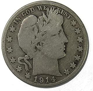 1914 S Silver Barber Half Dollar 50c - Fine (F)