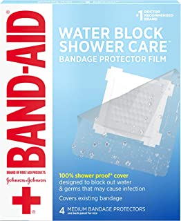 Band-Aid Brand First Aid Water Block Shower Care Clear Bandage Protector, Medium-Sized, 4 ct