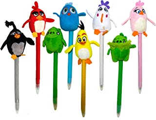 Angry Birds Plush Pen, Medium Ball Point Nib, Black Ink, Set of 12, Assorted Character Designs (07320)