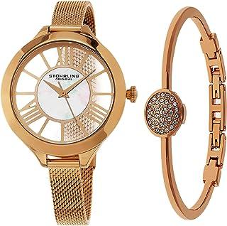ساعة يد من ستيرلينج اوريجنال للنساء، مينا ابيض وسوار ستانلس ستيل ومجموعة أساور - Set_595.03_B1R، انالوج