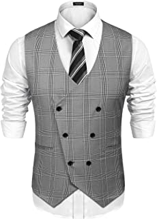 Mens Double Breasted Suit Vest Slim Fit Business Formal Wedding Dress Waistcoat