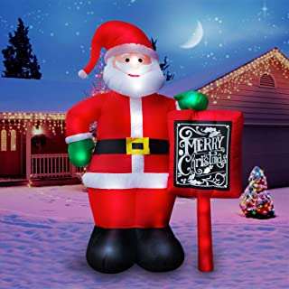 Holidayana 10 Ft. Giant Inflatable Santa Claus with Merry Christmas Sign Featuring Lighted Interior, Airblown Inflatable Christmas Decoration with Built in Fan and Anchor Ropes